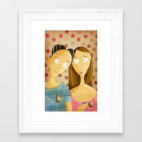 lovers Framed Art Prints featuring Lovers by gazonula