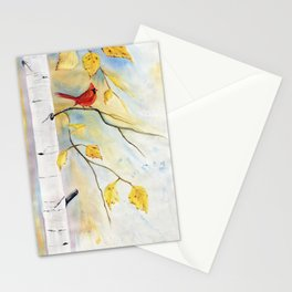 Cardinal on birch Tree Stationery Cards