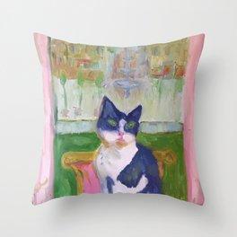 Bunny in Paris Throw Pillow