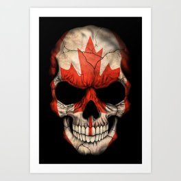 Dark Skull with Flag of Canada Art Print