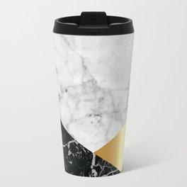 White Marble Black Granite & Gold #944 Travel Mug