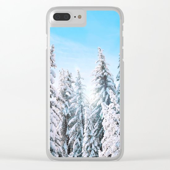 Snow covered evergreens Clear iPhone Case