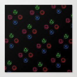 PS4 controller buttons neon aesthetics Canvas Print