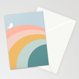 boho rainbow in soft & trendy colors, minimalism Stationery Cards