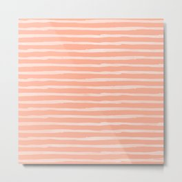 Sweet Life Thin Stripes Peach Coral Pink Metal Print