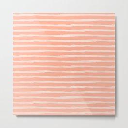 Sweet Life Thin Stripes Peach Coral Pink Metal Print