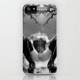 7034-TT Desert Domination BW IR Art Nude In Black Leather Corset Thigh High Boots iPhone Case