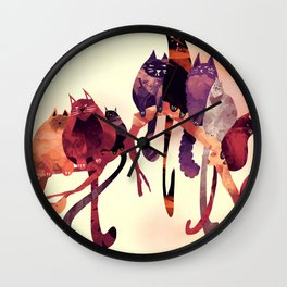 Cat-Birds on a Wire Wall Clock