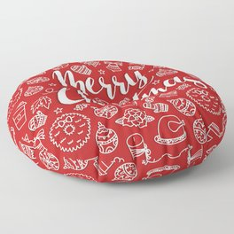 MERRY CHRISTMAS! - Red Pattern Floor Pillow