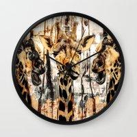 giraffes Wall Clocks featuring Giraffes by RIZA PEKER