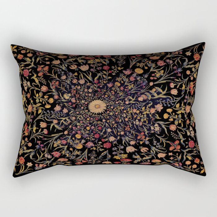 Medieval Flowers on Black Rectangular Pillow