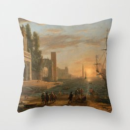 A Seaport by Claude Throw Pillow