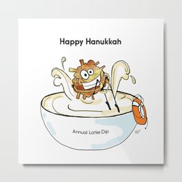 Happy Hanukkah Latke Metal Print