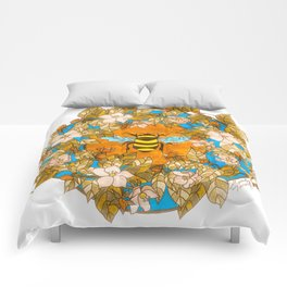 Bumblebee In Wild Rose Wreath Comforters