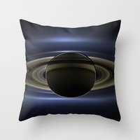 saturn Throw Pillows featuring Saturn by 2sweet4words Designs