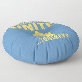 Procrastinators Unite Tomorrow (Blue) Floor Pillow