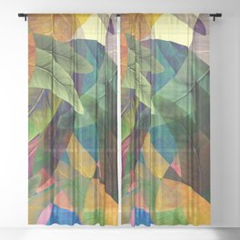 """Retro Tropical Tiki Fantasy"" Sheer Curtain"