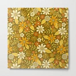 1970s Retro Flowers Pattern in Yellow, Orange & Olive Green Metal Print
