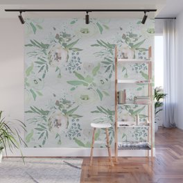 Blush pink white green watercolor modern floral berries pattern Wall Mural