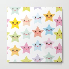 Kawaii stars pattern, face with eyes, pink green blue purple yellow Metal Print