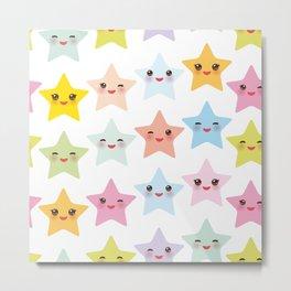 Kawaii stars pattern, face with eyes, pink green blue purple yellow Metal Print