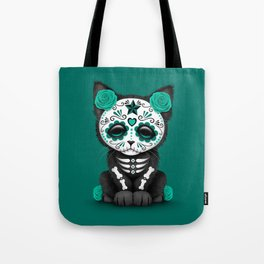 Cute Teal Blue Day of the Dead Kitten Cat Tote Bag