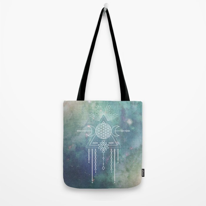 Mandala Flower of Life in Turquoise Stars Tote Bag
