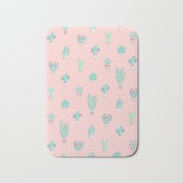 Little succulent pattern on pastel pink Bath Mat