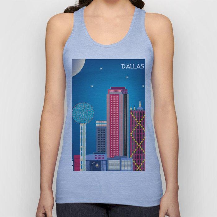 Dallas, Texas - Skyline Illustration by Loose Petals Unisex Tank Top