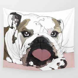 English Bulldog Love Wall Tapestry