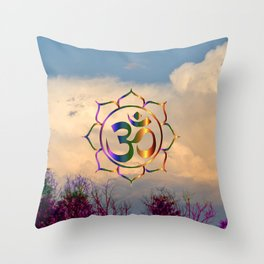 Trees Clouds Om Throw Pillow
