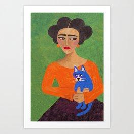 Frida with Blue Cat Art Print