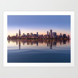 Panorama of Chicago at Sunset Art Print