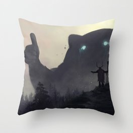 yo bro is it safe down there in the woods? yeah man it's cool Throw Pillow