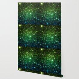 Glitter Galaxy Stars Green Teal Ombre Wallpaper