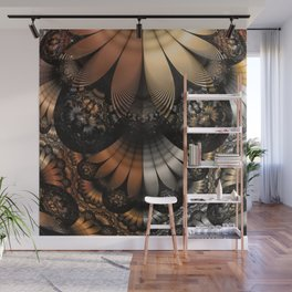 Autumn Fractal Pheasant Feathers in DaVinci Style Wall Mural