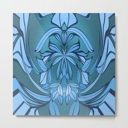 Art Nouveau French Lavendar and Teal Mandala Metal Print