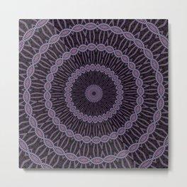 Eggplant and Pale Aubergine Circles Kaleidoscope Pattern Metal Print