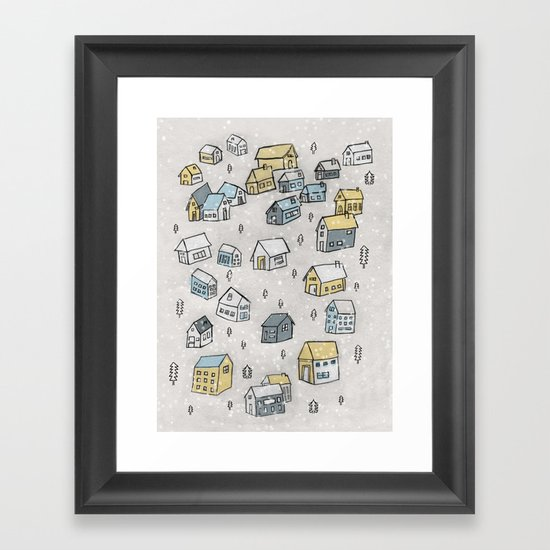 First day of snow Framed Art Print