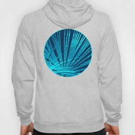 Tropical Blue Fan Palm Leaves Abstract Design Hoody