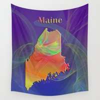 maine Wall Tapestries featuring Maine Map by Roger Wedegis