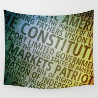 patriotic Wall Tapestries featuring Patriotic Words of America by politics