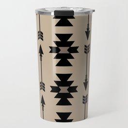 Southwestern Arrow Pattern 232 Black and Beige Travel Mug