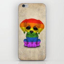Cute Puppy Dog with Gay Pride Rainbow Flag iPhone Skin