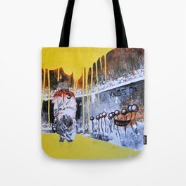 Mixed Media Art Yellow Rain Tote Bag