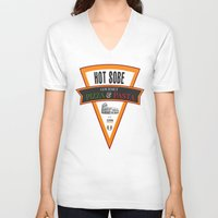 pasta V-neck T-shirts featuring Hot Sobe Gourmet Pizza & Pasta by vibrains