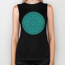 Beautiful mandala in teal and green Biker Tank