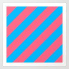 Stripes Diagonal Pink & Blue Art Print