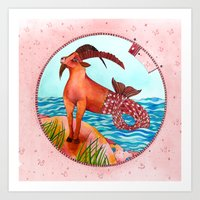 capricorn Art Prints featuring Capricorn by Sandra Nascimento