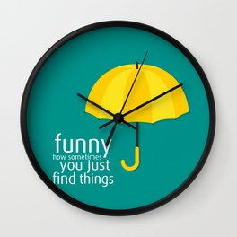 Yellow Umbrella Wall Clock